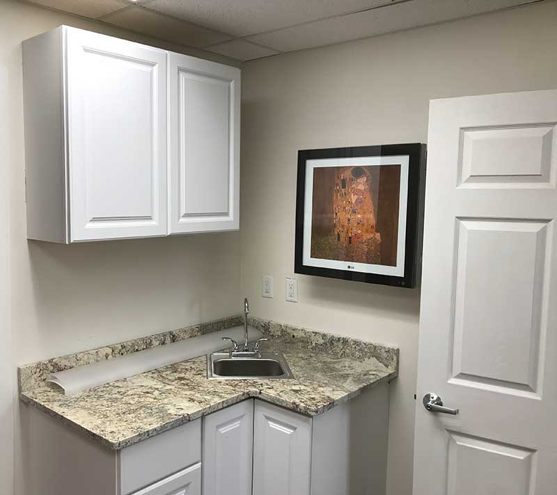 kitchenette in office space for lease