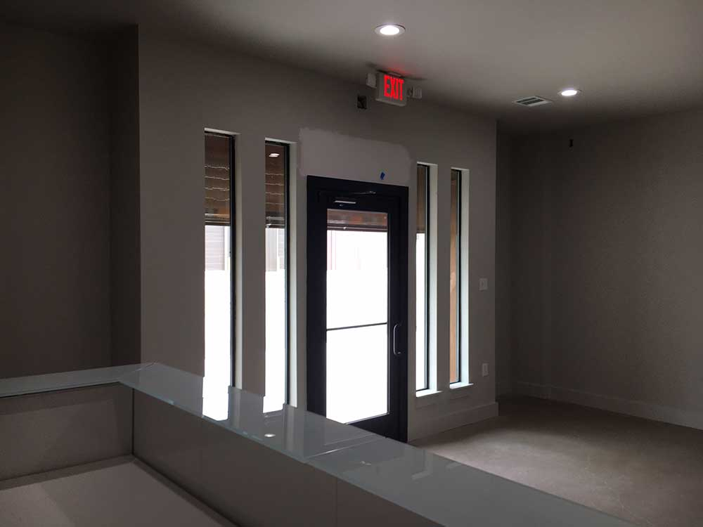 Reception area inside industrial space for lease.