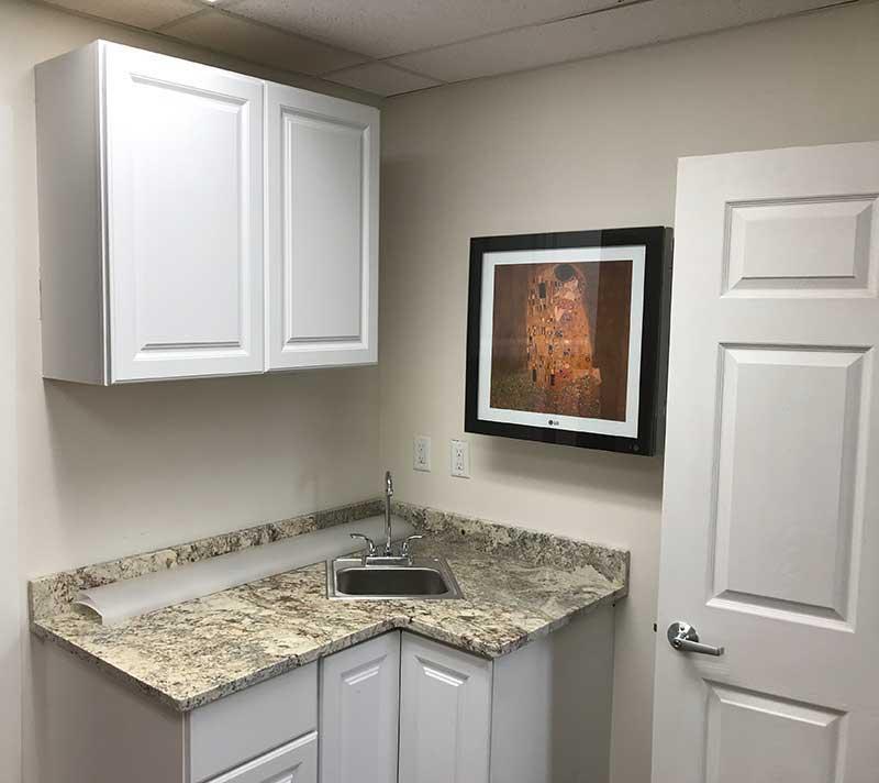 Break room inside Paddock Place Office Suites